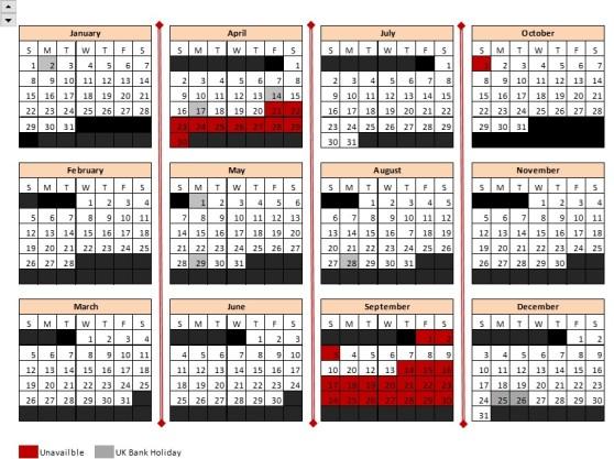 2017 Availability Calendar